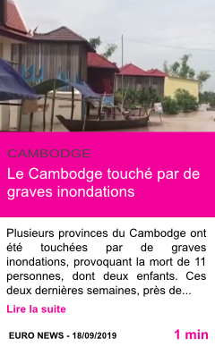 Societe le cambodge touche par de graves inondations page001