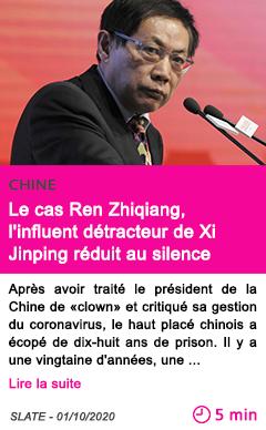 Societe le cas ren zhiqiang l influent de tracteur de xi jinping re duit au silence