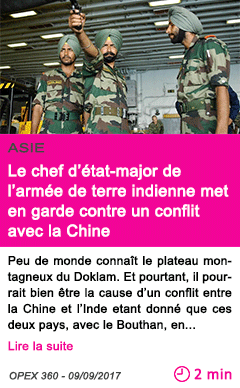 Societe le chef d etat major de l armee de terre indienne met en garde contre un conflit avec la chine