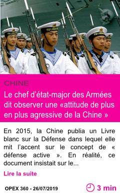 Societe le chef d etat major des armees dit observer une attitude de plus en plus agressive de la chine page001