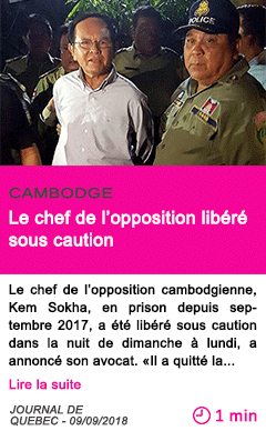 Societe le chef de l opposition libere sous caution