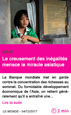 Societe le creusement des inegalites menace le miracle asiatique