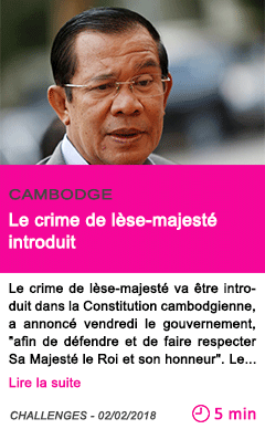 Societe le crime de lese majeste introduit
