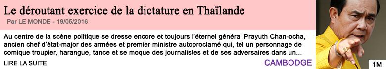 Societe le deroutant exercice de la dictature en thailande