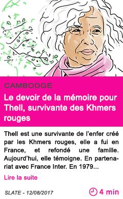 Societe le devoir de la memoire pour thell survivante des khmers rouges