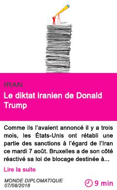 Societe le diktat iranien de donald trump