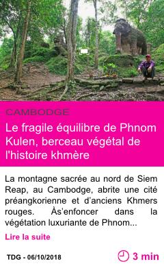 Societe le fragile equilibre de phnom kulen berceau vegetal de l histoire khmere page001