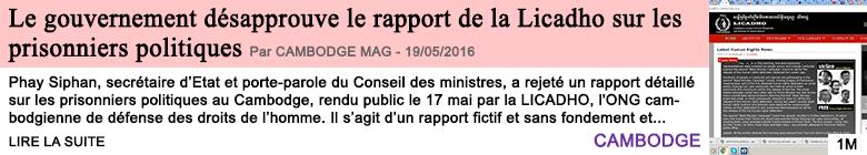 Societe le gouvernement desapprouve le rapport de la licadho sur les prisonniers politiques