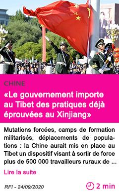 Societe le gouvernement importe au tibet des pratiques de ja e prouve es au xinjiang