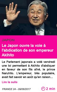 Societe le japon ouvre la voie a l abdication de son empereur akihito