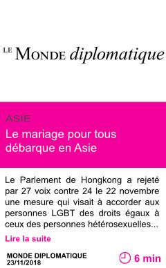 Societe le mariage pour tous debarque en asie page001