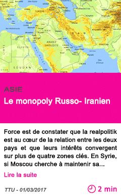 Societe le monopoly russo iranien