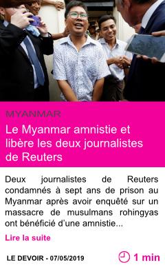 Societe le myanmar amnistie et libere les deux journalistes de reuters page001