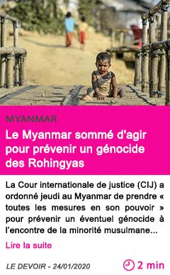 Societe le myanmar somme d agir pour prevenir un genocide des rohingyas