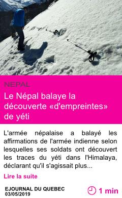 Societe le nepal balaye la decouverte d empreintes de yeti page001