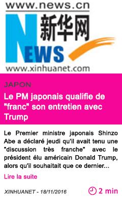 Societe le pm japonais qualifie de franc son entretien avec trump