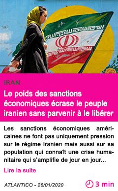Societe le poids des sanctions economiques ecrase le peuple iranien sans parvenir a le liberer