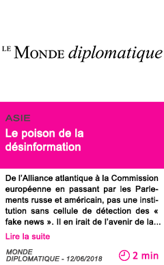 Societe le poison de la desinformation