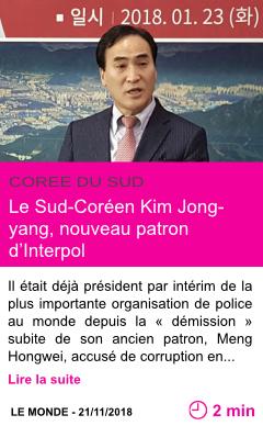Societe le sud coreen kim jong yang nouveau patron d interpol page001