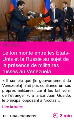 Societe le ton monte entre les etats unis et la russie au sujet de la presence de militaires russes au venezuela page001