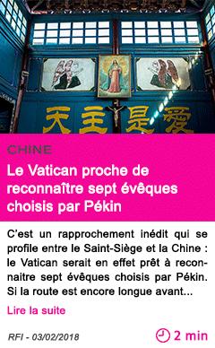Societe le vatican proche de reconnaitre sept eveques choisis par pekin