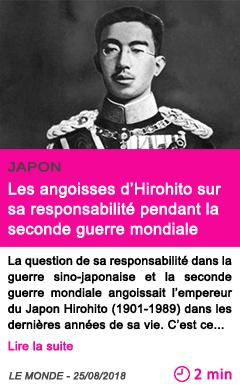 Societe les angoisses d hirohito sur sa responsabilite pendant la seconde guerre mondiale