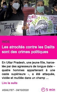 Societe les atrocite s contre les dalits sont des crimes politiques
