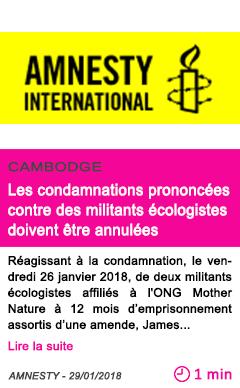 Societe les condamnations prononcees contre des militants ecologistes doivent etre annulees
