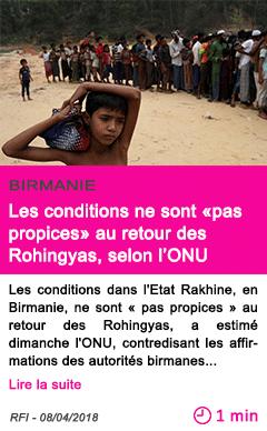 Societe les conditions ne sont pas propices au retour des rohingyas selon l onu