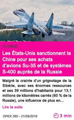 Societe les etats unis sanctionnent la chine pour ses achats d avions su 35 et de systemes s 400 aupres de la russie 1