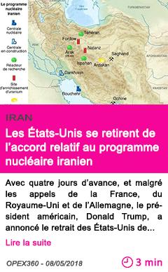 Societe les etats unis se retirent de l accord relatif au programme nucleaire iranien