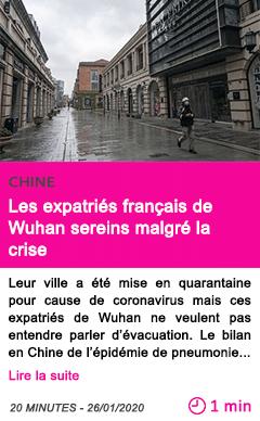 Societe les expatries francais de wuhan sereins malgre la crise