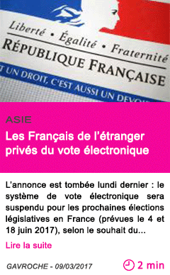 Societe les francais de l etranger prives du vote electronique