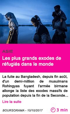 Societe les plus grands exodes de refugies dans le monde