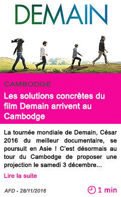 Societe les solutions concretes du film demain arrivent au cambodge