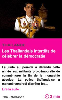 Societe les thailandais interdits de celebrer la democratie