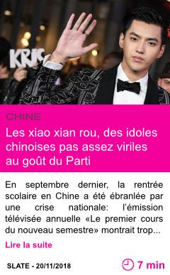 Societe les xiao xian rou des idoles chinoises pas assez viriles au gout du parti page001