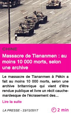 Societe massacre de tiananmen au moins 10 000 morts selon une archive