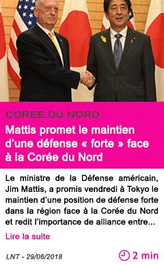 Societe mattis promet le maintien d une defense forte face a la coree du nord