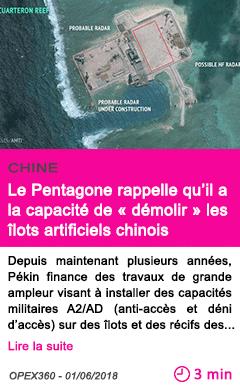 Societe mer de chine meridionale le pentagone rappelle qu il a la capacite de demolir les ilots artificiels chinois