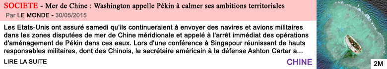Societe mer de chine washington appelle pekin a calmer ses ambitions territoriales
