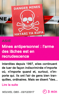 Societe mines antipersonnel l arme des laches est en recrudescence