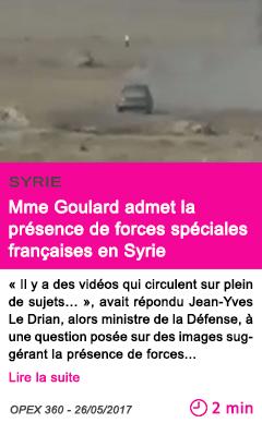 Societe mme goulard admet la presence de forces speciales francaises en syrie