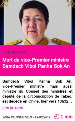 Societe mort de vice premier ministre samdech vibol panha sok an