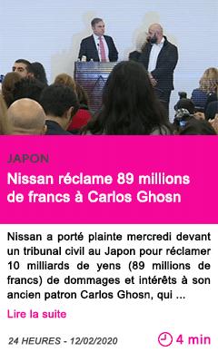 Societe nissan reclame 89 millions de francs a carlos ghosn