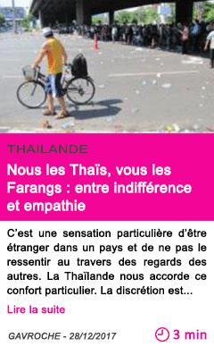 Societe nous les thais vous les farangs entre indifference et empathie