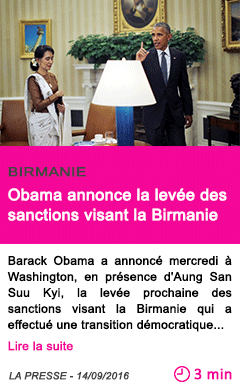Societe obama annonce la levee des sanctions visant la birmanie