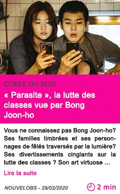 Societe parasite la lutte des classes vue par bong joon ho