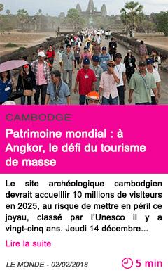 Societe patrimoine mondial a angkor le defi du tourisme de masse