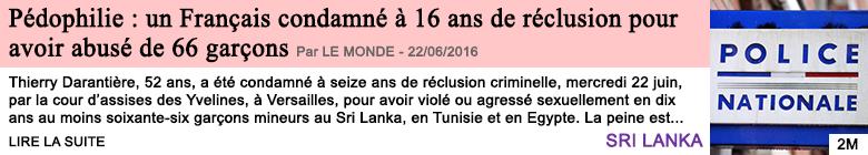 Societe pedophilie un francais condamne a 16 ans de reclusion pour avoir abuse de 66 garcons